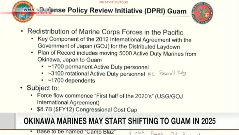 Okinawa Marines relocation to Guam may start 2025