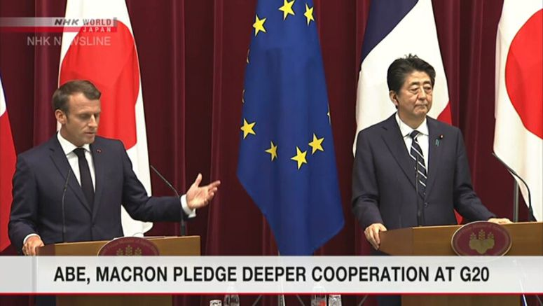 Abe, Macron to cooperate at G20 summit