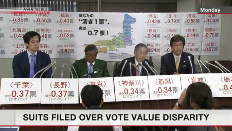 Suits filed across Japan over vote-value disparity