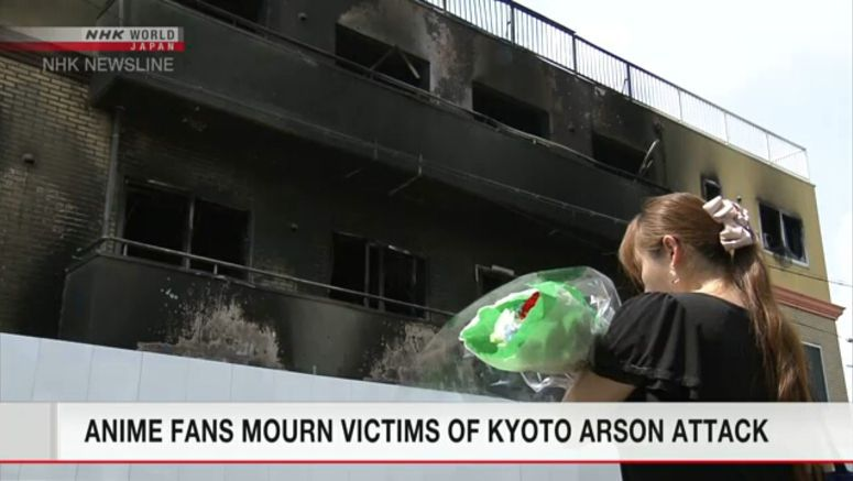 Anime fans mourn victims of Kyoto arson attack