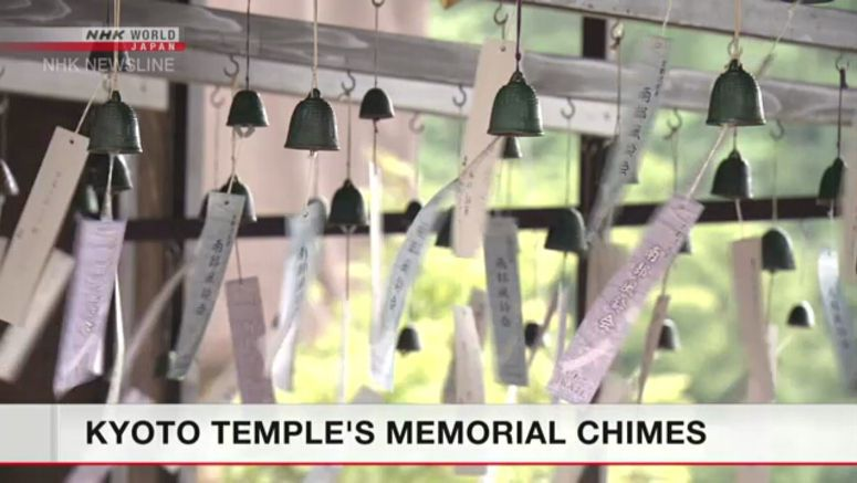 Kyoto temple adorned with wind chimes