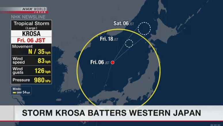 Storm Krosa barrels through western Japan