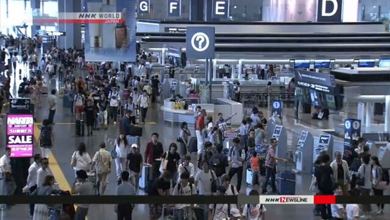 Arrivals at Narita from S. Korea down in August