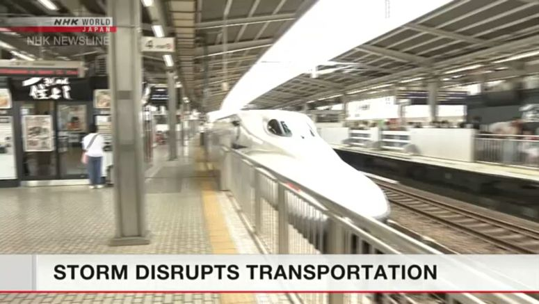 Storm causes bullet train cancellations