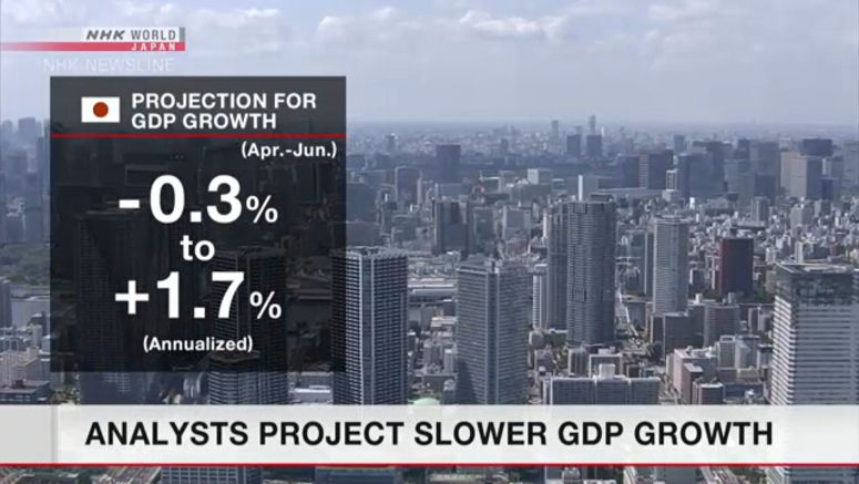 Analysts project slowing GDP growth in Japan