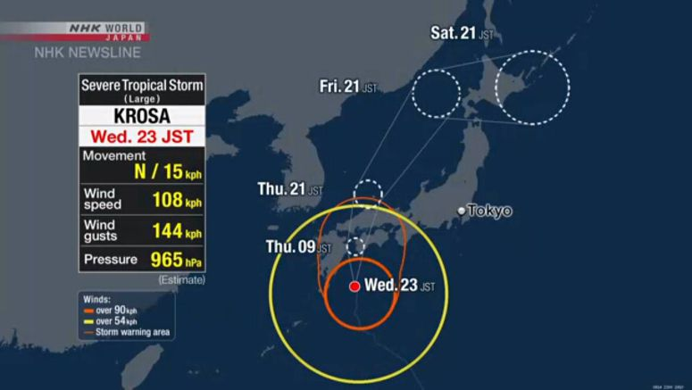 Severe tropical storm Krosa nearing western Japan