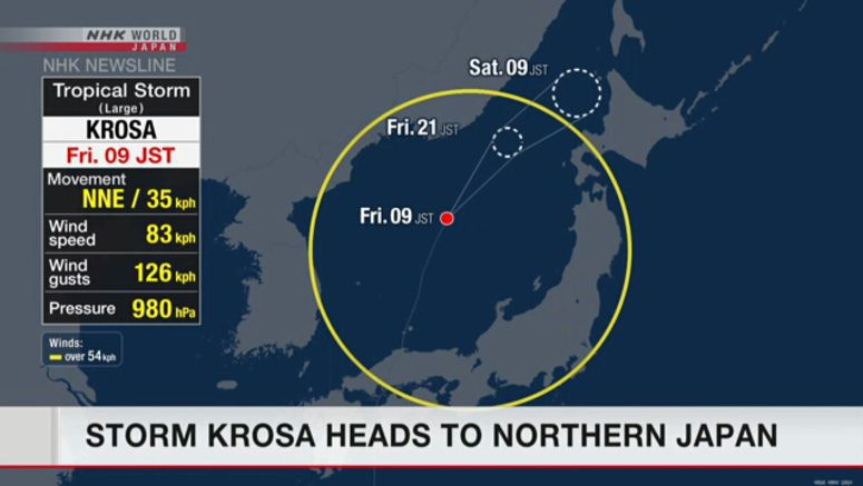 Krosa to bring heavy rain to northern Japan