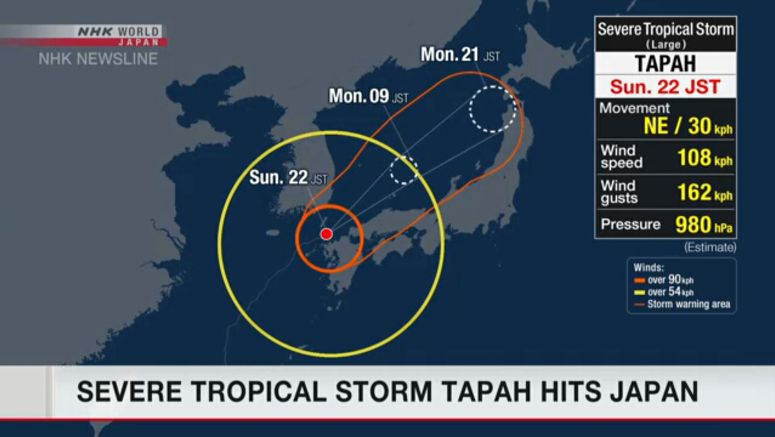 Severe tropical storm Tapah hits Japan