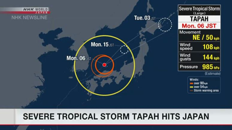 Severe tropical storm Tapah batters Japan