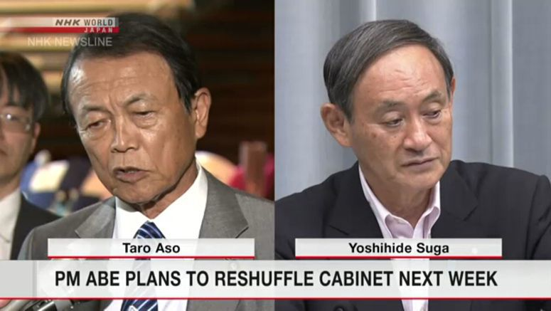 PM Abe intends to reshuffle Cabinet next week