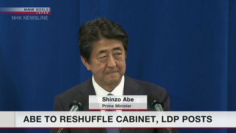 Abe to reshuffle Cabinet, LDP posts