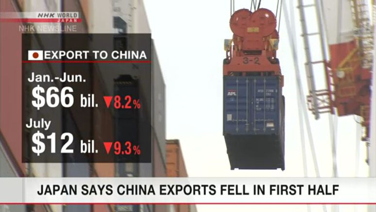 Japan says China exports fell in 1st half