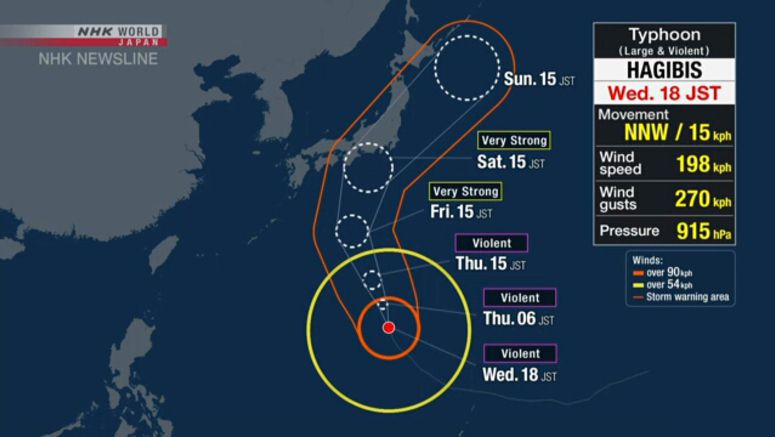 Typhoon Hagibis to approach Japan over weekend