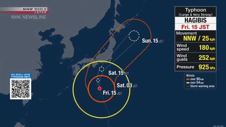 Typhoon Hagibis could break records in Japan