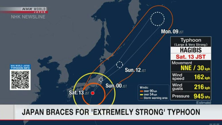 Japan braces for 'extremely strong' typhoon
