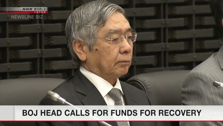 Bank of Japan head calls for funds for recovery