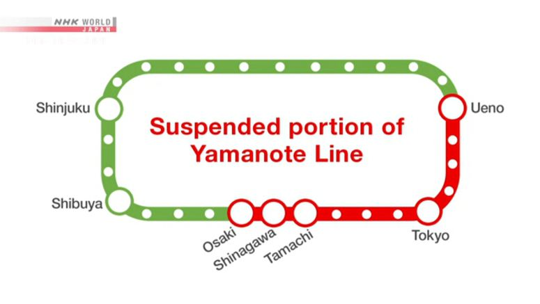 Portion of Tokyo's Yamanote Line out of service
