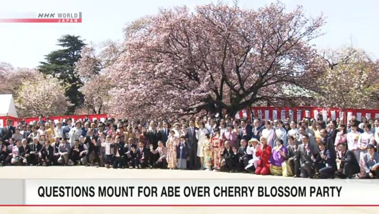 Abe hints at reviewing cherry blossom party