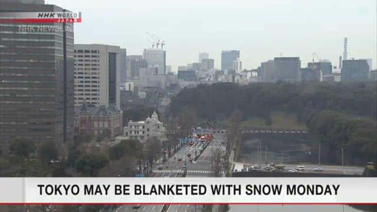 Tokyo may be blanketed with snow Monday