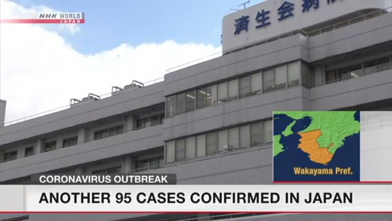 Another 95 infection cases confirmed in Japan