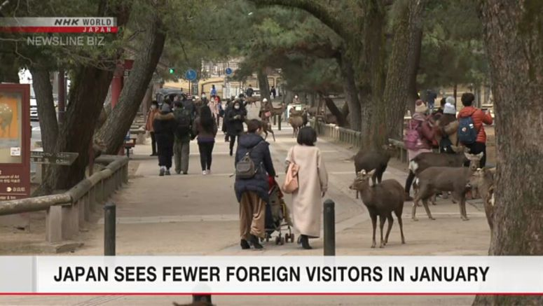 Japan sees fewer foreign visitors in January
