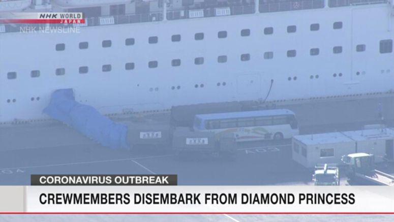 Coronavirus: Crew members disembark cruise ship