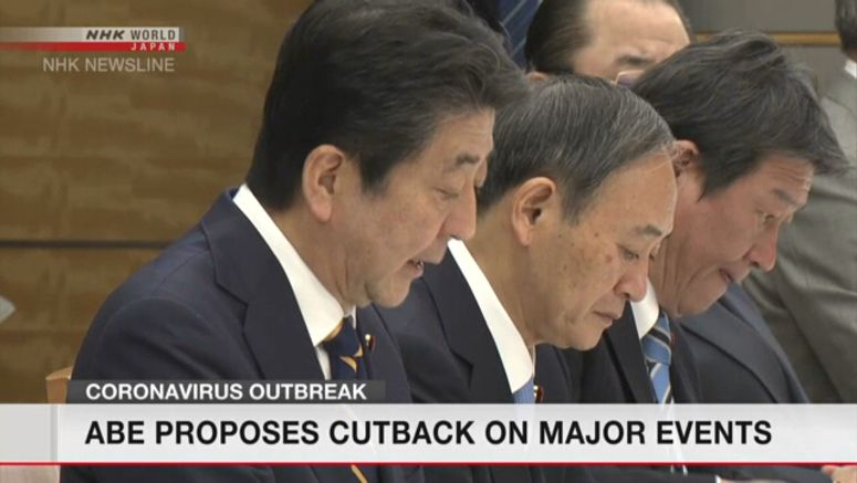 Coronavirus: Abe proposes cutback on major events