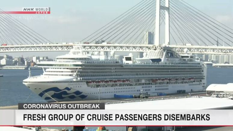 Third group of passengers leave cruise ship