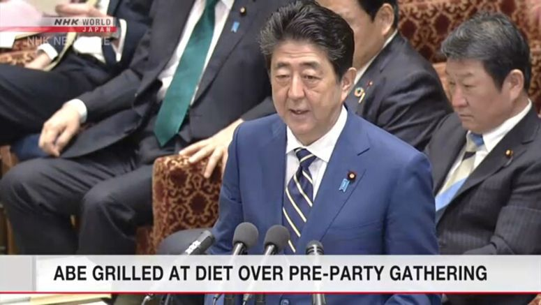 Abe grilled at Diet over dinner parties