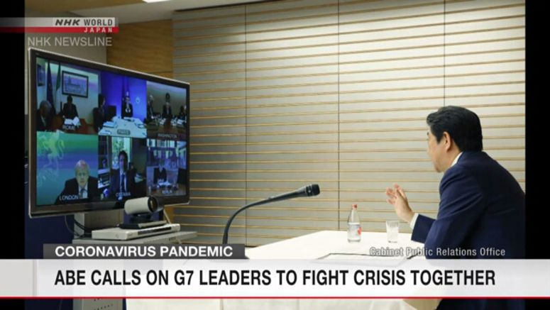 Abe urges G7 leaders to fight virus together