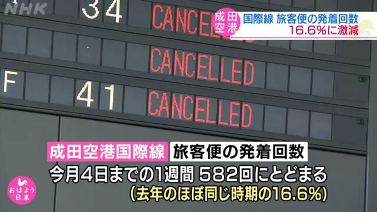 Intl. flights at Narita airport drop sharply