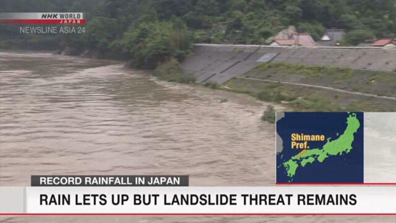 Rain lets up, but landslide threat remains