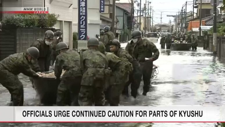 Continued caution urged for parts of Kyushu