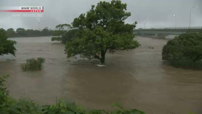 Kuma River in Kumamoto overflowing