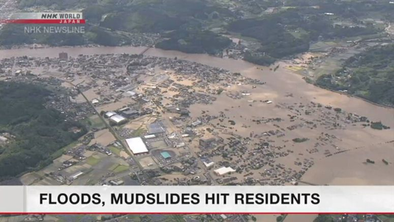 Floods, mudslides hit southern Japan