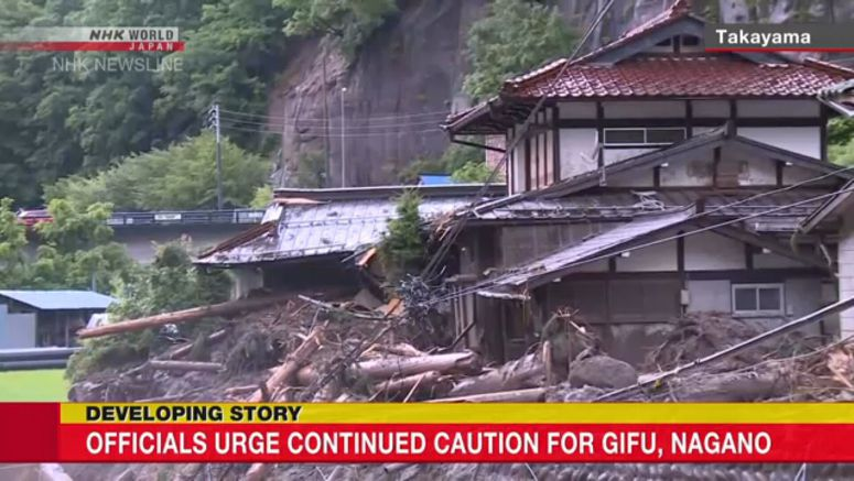 Officials urge continued caution for Gifu, Nagano