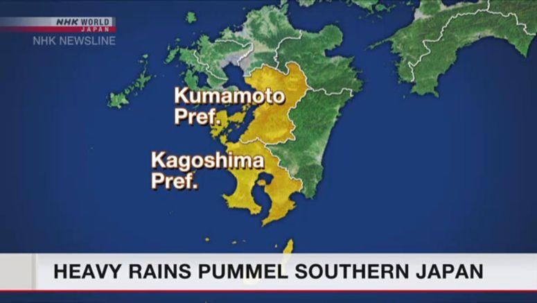 Heavy rains pummel southern Japan