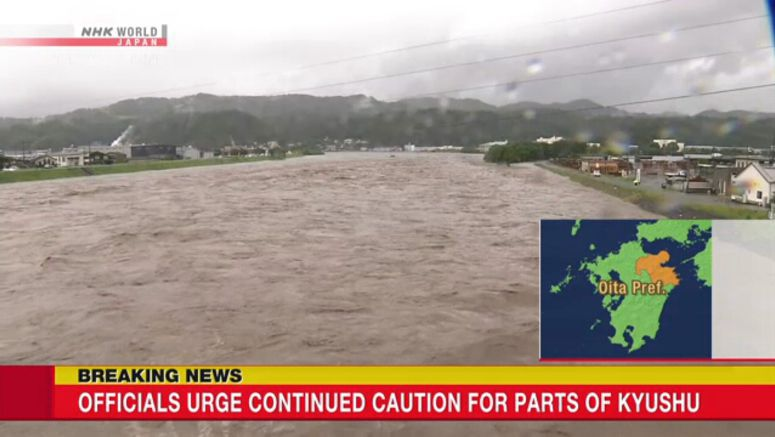 Officials urge continued caution for Kyushu