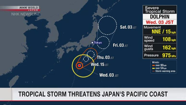 Tropical storm Dolphin nears Japan coast