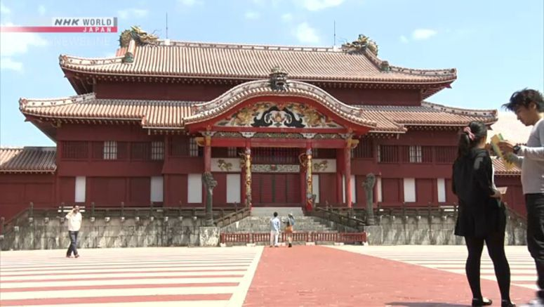 Dragon pillars' restoration starts at Shuri Castle