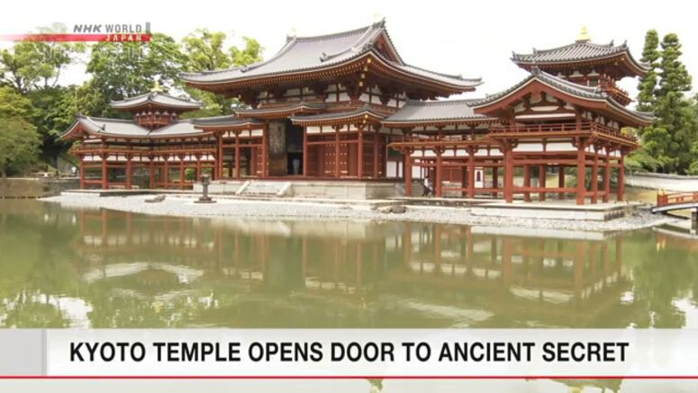 Drawing of bodhisattvas found on Kyoto temple door