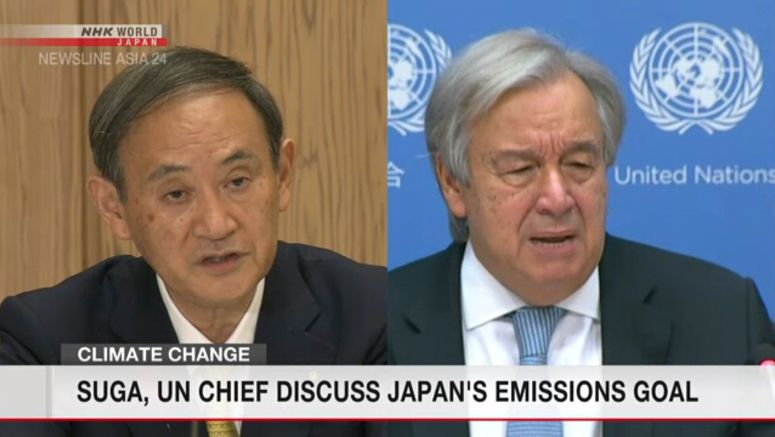 Suga informs UN chief of carbon-neutral goal