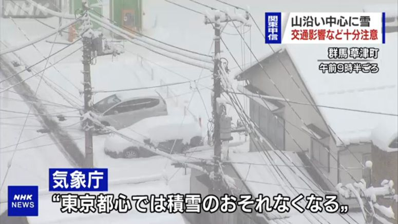 More snow to come, but no buildup in central Tokyo