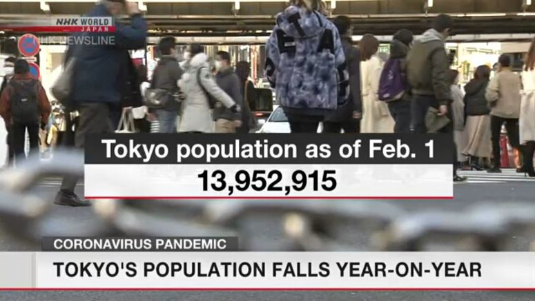 Tokyo's population falls year-on-year