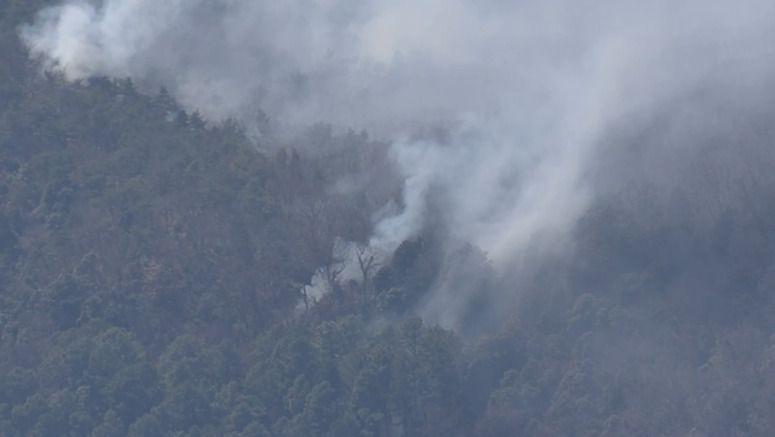 Dry air hampers containment of Ashikaga wildfire
