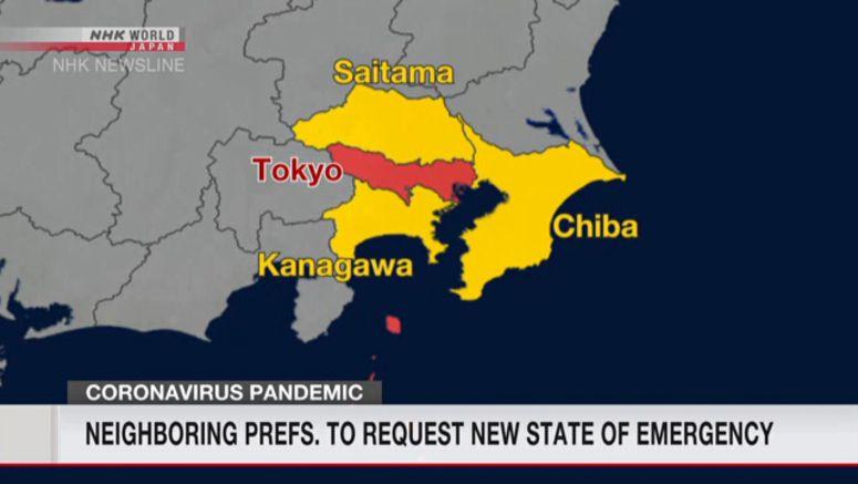 3 prefs. near Tokyo to seek emergency declaration