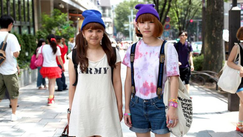 Japan cool youths wearing winter knit kit despite scorching summer