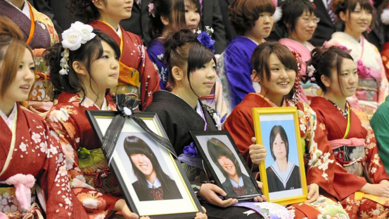 Coming-of-Age ceremony also honors friends who died in tsunami