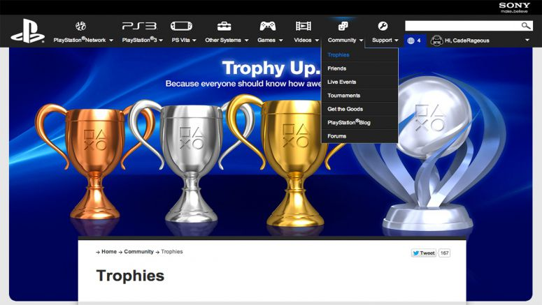 Sony PlayStation.com Trophy Page Levels Up