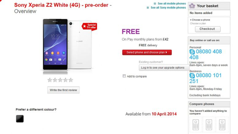 Sony Xperia Z2 Pre-Orders Come with Free 32-Inch TVs at Vodafone UK